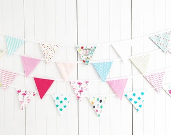 Summer Bunting - Flamingo Banner - Turquoise Bird Bunting - Tea Time Bunting - Cactus bunting - Pineapple Bunting - Summer BBQ Party Banner