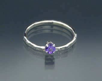 Purple Amethyst Gemstone Ring - Sterling Silver Textured Band - February Birthstone Ring - Handmade in USA by Me - FREE Shipping