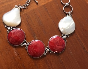 Antique Coral and Mother of Pearl Sterling Bracelet