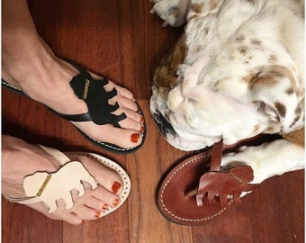 English Bulldog Lady Flip flops leather shoes handmade gift shoes