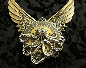 Steampunk Wing Octupus Pin