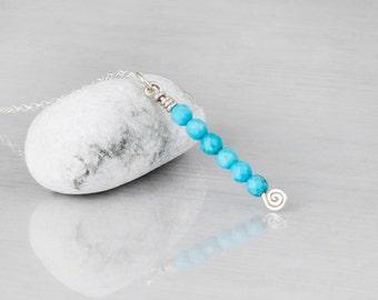 Silver Y Necklace, Beaded Lariat Necklace, Turquoise Necklace, Layered Necklace, Y Necklace Choker , Gemstone Necklace, Birthstone Lariat,