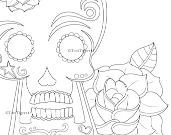 Sugar Skull with Rose, Day of the Dead, Instant Digital Download Coloring Page, Skull Drawing, Adult Coloring Page, Digital Coloring Book