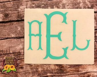 monogram decal . fishtail monogram decal . yeti cup decal . laptop decal . car decal . vinyl decal .