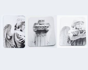 Set of 3 Angel Photo Magnets, black and white photography, angel photography, refrigerator magnet