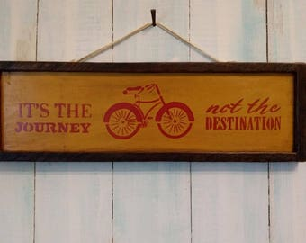 Handmade and Hand Painted sign made from Reclaimed Wood in Autumn Gold and Red