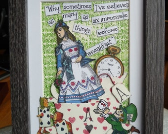 Alice in Wonderland six impossible things mixed media box frame art work