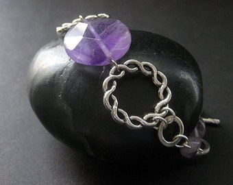 Genuine Amethyst Beaded Bracelet. Handmade Jewelry by Gilliauna