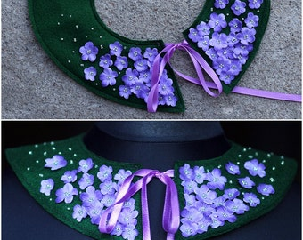 Embroidered collar - necklace / Purple flower collar