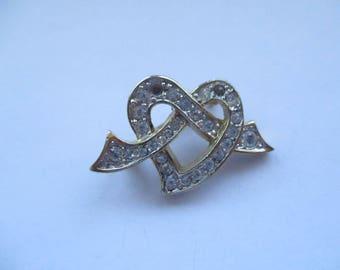 Vintage Gold Tone, White Rhinestone Heart Knot Brooch, Heart Brooch, Heart Pin, White Rhinestone Heart