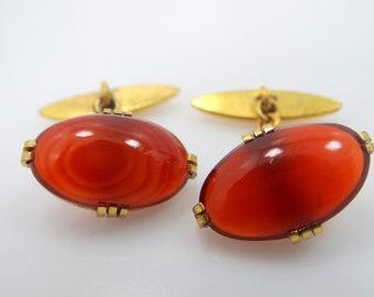 1930's Carnelian Colored Glass Gold Filled Cuff Links Cufflinks