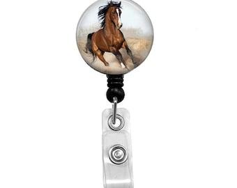Brown Horse Badge Reel, ID Badge Holder, Medical Badge Reel, Animal, Belt or Alligator clip