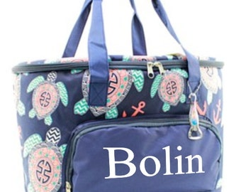 Monogram Sea Turtle Insulated Cooler Bag - LARGE - Navy, Mint, Coral, and White