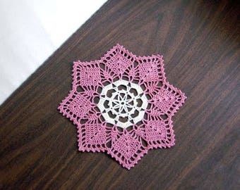 Dusty Rose Decor Crochet Doily, Cottage Chic Home Decor, Lace Table Doily, 8 1/2 Inch Doily, Unusual Design, Gift for Her