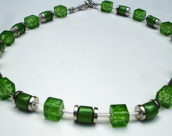 Green Cubes Necklace