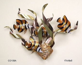Banded Angelfish Metal Wall Sculpture - CO106