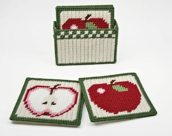 PATTERN: Country Apples Coasters Pattern in Plastic Canvas