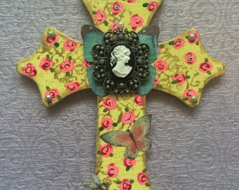 Let Them Eat Cake!-Pastel Marie Antionette Cameo Cross- Whimsical Lemon Yellow & Candy Pink Rose Butterfly Crucifix-Wall Art
