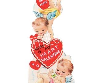 Vintage Valentine's Day Greeting Card Digital Image Download Printable for Boyfriend/Girlfriend Husband/Wife Cupid Baby Angels