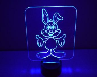 3D rabbit, night light lamp 7 colors, USB connection