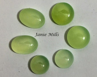 Chalcedony Green Round Cabochon 10mm - 12mm