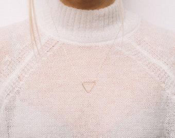 Gold Minimalistic Triangle Necklace, Dainty Gold Triangle Necklace, Fine Gold Chain, Simple Necklace, Geometric Contemporary Minimalist