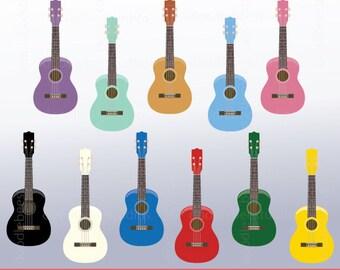 Ukulele Clipart, Colorful Ukulele Digital Download, Musical Instruments Clipart, Ukulele Instant Download