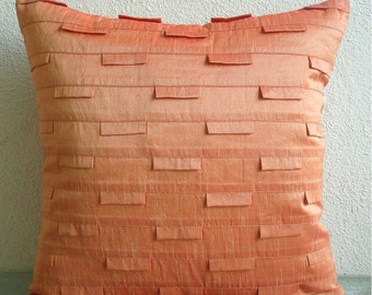 "Handmade  Orange Pillow Cases, Pintucks Textured Pillow Covers Square  18""x18"" Silk Pillow Covers - Orange Ocean"