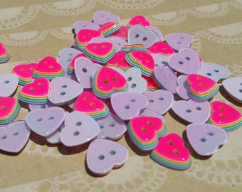 """Pink Heart Rainbow Buttons - Sewing Hearts Button Neon Pink Layered Rainbows - 11mm 1/2"""" Wide - 115 Buttons - DESTASH SALE"""