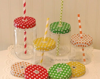 Plastic Mason Jar, 10 Mason Jars with POLKA DOT Jar Lids with Straw Holes and Grommet, Mason Jar with Lid, Birthday Party Favor, Plastic Cup
