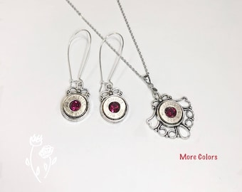 Bullet Jewelry Gift Set Made From Winchester 270 Bullets & Swarovski Crystals