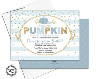 pumpkin baby shower invitation boy, fall themed baby shower invites, blue, and gold, stripes, confetti - PRINTED - WLP00742