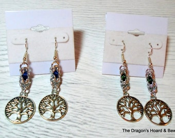 Silver Byzantine Chainmaille with Tree of Life Charms - Choice of Blue or Green