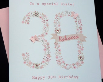 Handmade Personalised Birthday Card 16th 18th 21st 30th 40th 50th 60th 70th 80th- ANY AGE