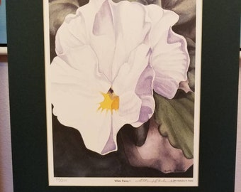 Vintage print of watercolor, white pansy signed by Kathy Parker fine art
