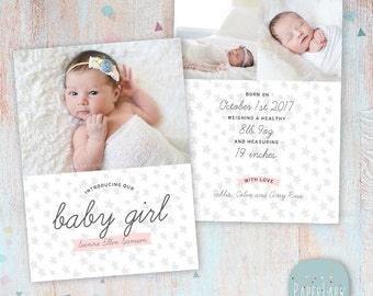 Newborn Baby Girl Birth Announcement - New Baby - Photoshop Card template - AN007 - INSTANT DOWNLOAD