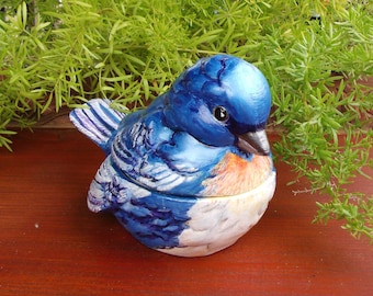 OOAK Hand Painted Blue Bird (Lazuli Bunting) Trinket Box -- Bisque