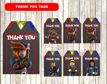 Roblox Chalkboard Thank you tags, printable Roblox party tags,  Chalkboard Roblox thank you tags- Instant download