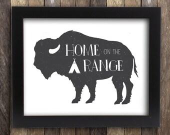 Home on the Range, Buffalo Print, Bison Skull, Bison Print, Western Nursery Decor, Ranch Signs, Farm Sign, Cowboy Art, New Farmhouse Gift