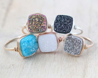 Druzy Cocktail Ring, Cushion Cut in Silver, Gold, Rose, Gemstone Quartz Bezel Wrapped - 7 Color Choices
