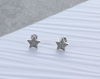 Zirconia Star Stud Earrings