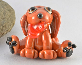 CUPID the puppy dog, sculpture  lampwork glass bead, whimisical lampwork focal bead, Izzybeads SRA