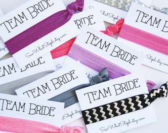 TEAM BRIDE Elastic Hair Ties / Wedding Favor / Bachelorette Party / Bridal Shower / Bachelorette Hair Ties / Customize Your Own!