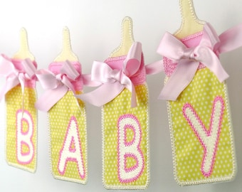 """Baby Bottle Banner In The Hoop Project Machine Embroidery Design Applique Patterns in 7 sizes 4"""", 5"""", 6"""", 7"""", 8"""", 9"""" and 10"""""""