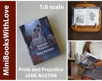 MINIATURE book, PRIDE and PREJUDICE by Jane Austen, readable 1:6 scale books, dollhouse miniatures