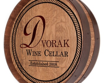 Family Name Carved on Wine Barrel LID