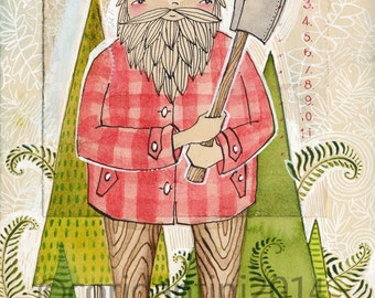 Art Print, The Woodsman from The Little Red Fabric collection by Cori Dantini & Blend Fabrics , Archival Limited edition reproduction
