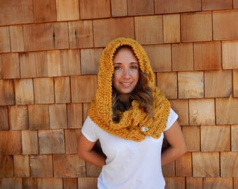 Hooded Scarf, Oversized Cowl, Neck Warmer in Honey Mustard