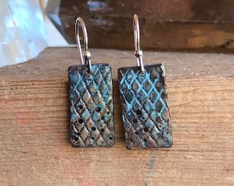 Copper Textured Dangle Earrings
