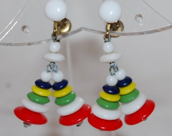 Vintage 50s Plastic Rainbow Dangle Earrings
